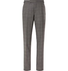 TOM FORD - Grey Slim-Fit Prince of Wales Checked Wool and Silk-Blend Suit Trousers