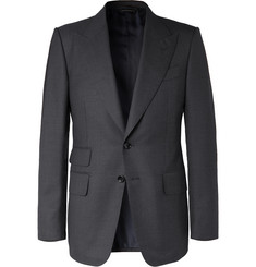 TOM FORD - Navy Shelton Slim-Fit Puppytooth Wool Suit Jacket