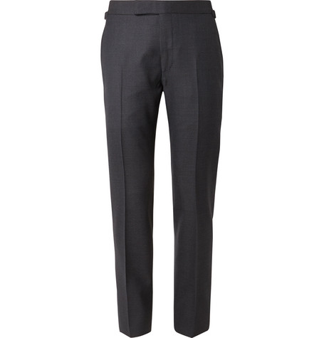 TOM FORD Navy Shelton Slim-Fit Puppytooth Wool Suit Trousers