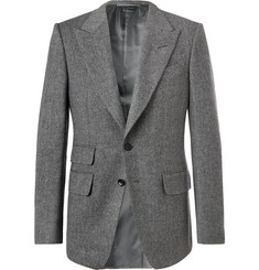 TOM FORD Grey Shelton Slim-Fit Herringbone Wool-Blend Blazer