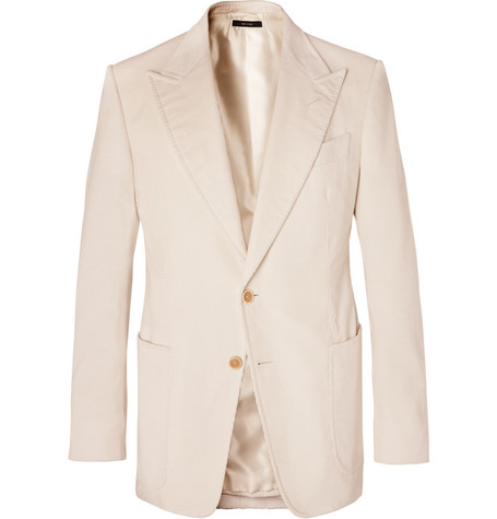 Tom Ford Cream Shelton Slim-Fit Cotton And Linen-Blend Corduroy Blazer In Neutrals