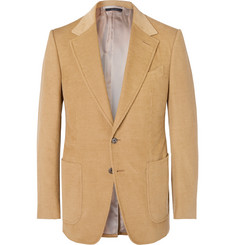 TOM FORD Camel Shelton Slim-Fit Cotton and Linen-Blend Corduroy Blazer