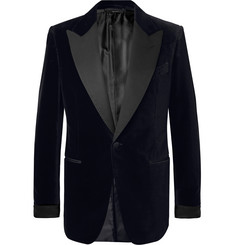 TOM FORD Black Shelton Slim-Fit Faille-Trimmed Cotton-Velvet Tuxedo Jacket
