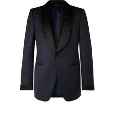 TOM FORD - Midnight-Blue Shelton Slim-Fit Satin-Trimmed Grain de Poudre Tuxedo Jacket
