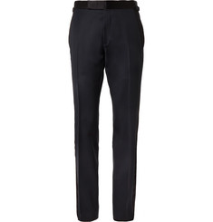 TOM FORD - Midnight-Blue Shelton Slim-Fit Satin-Trimmed Grain de Poudre Tuxedo Trousers