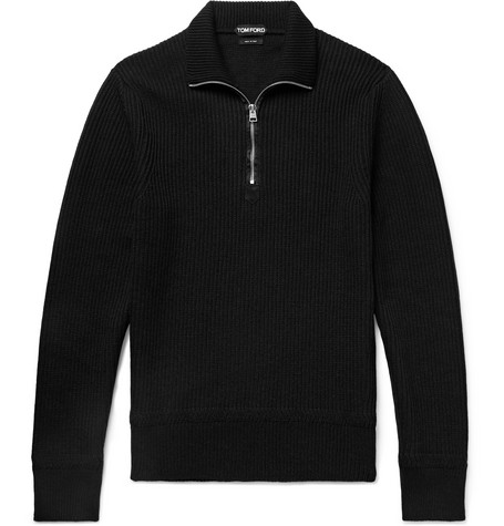 slim-fit-ribbed-merino-wool-and-cashmere-blend-half-zip-sweater by tom-ford
