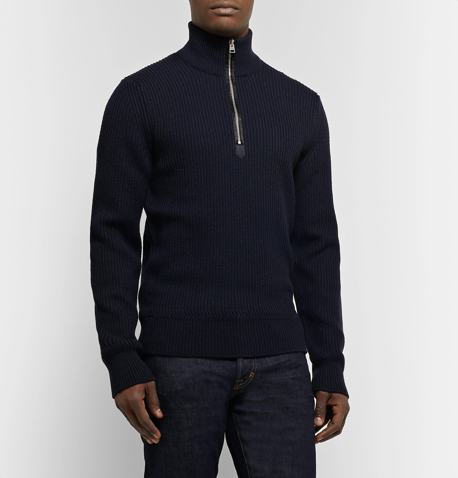 7da092410d67b TOM FORDSlim-Fit Ribbed Merino Wool and Cashmere-Blend Half-Zip Sweater