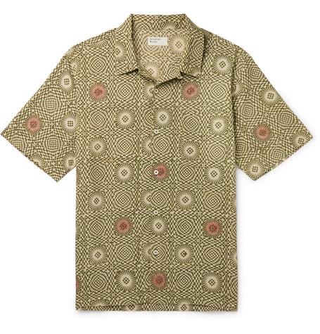 UNIVERSAL WORKS | Universal Works - Camp-Collar Printed Cotton-Poplin Shirt - Green | Goxip