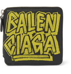 Balenciaga Printed Full-Grain Leather Billfold Wallet