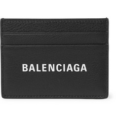 Balenciaga Everyday Logo-Print Full-Grain Leather Cardholder