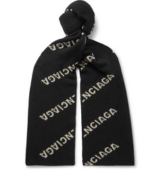 Balenciaga Logo-Jacquard Virgin Wool and Camel Hair-Blend Scarf