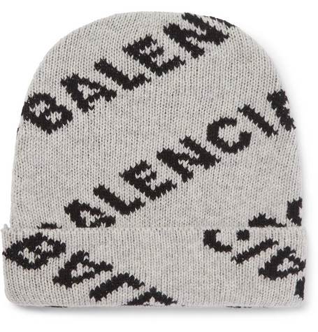 1ef7d92b Balenciaga - Logo-Jacquard Virgin Wool and Camel Hair-Blend Beanie