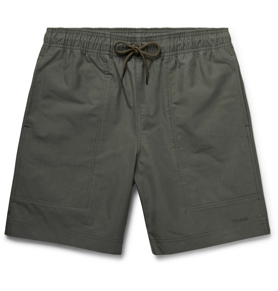 River Water Cotton-blend Canvas Drawstring Shorts - Charcoal