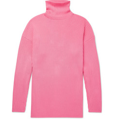 Balenciaga Oversized Ribbed Logo-Print Cotton Rollneck Sweater