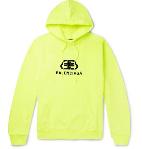 Balenciaga Logo-Print Loopback Cotton-Jersey Hoodie In Yellow
