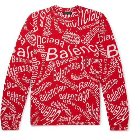 Balenciaga Logo-Intarsia Virgin Wool-Blend Sweater In Red