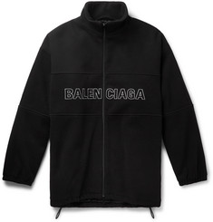 Balenciaga Oversized Logo-Embroidered Virgin Wool-Fleece Zip-Up Sweatshirt