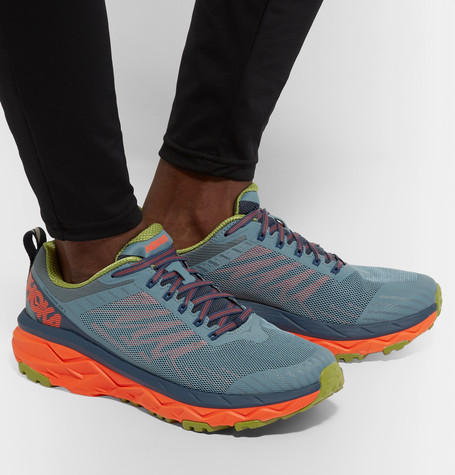 Hoka One One Challenger Atr 5 Rubber-Trimmed Mesh Trail Running Sneakers In Blue