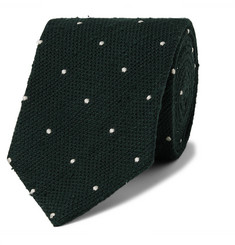 Drake's - 8cm Embroidered Polka-Dot Slub Silk Tie