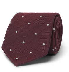 Drake's - 8cm Polka-Dot Silk and Wool-Blend Tie
