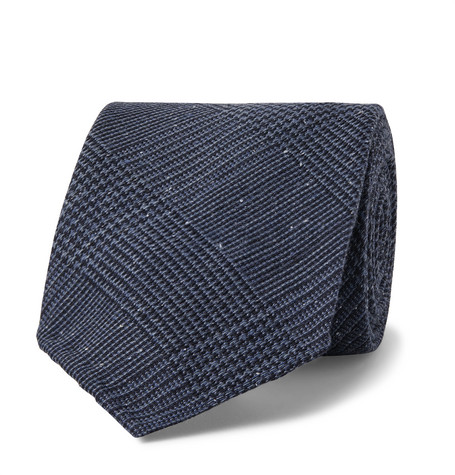 Drake's 8cm Prince of Wales Checked Silk and Wool-Blend Tie