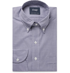 Drake's Easyday Button-Down Collar Gingham Cotton-Poplin Shirt