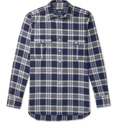 Drake's - Checked Slub Cotton-Flannel Shirt