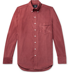 Drake's - Easyday Slim-Fit Button-Down Collar Cotton-Corduroy Shirt