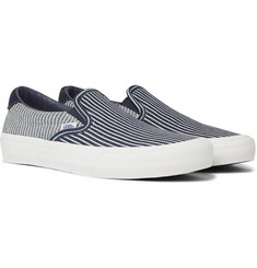 Vans Vans Vault 59 LX Suede-Trimmed Striped Denim Slip-On Sneakers