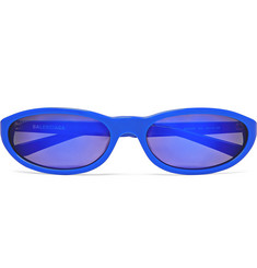 Oval-frame Acetate Sunglasses - Blue