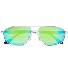 Aviator-style Silver-tone And Acetate Mirrored Sunglasses - Green