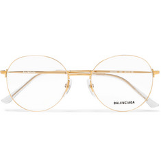 Balenciaga Round-Frame Gold-Tone Optical Glasses
