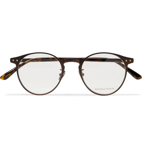 Round Frame Metal And Tortoiseshell Acetate Optical Glasses by Bottega Veneta
