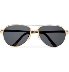 Cartier Eyewear Santos de Cartier Aviator-Style Leather-Trimmed Gold-Tone Sunglasses