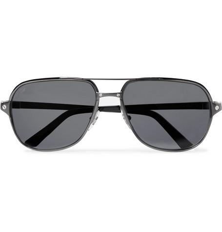 b0ab59981 Cartier EyewearSantos de Cartier Aviator-Style Leather-Trimmed  Gunmetal-Tone Polarised Sunglasses