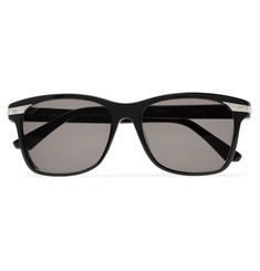 Cartier Eyewear Santos De Cartier Square-Frame Acetate and Silver-Tone Sunglasses