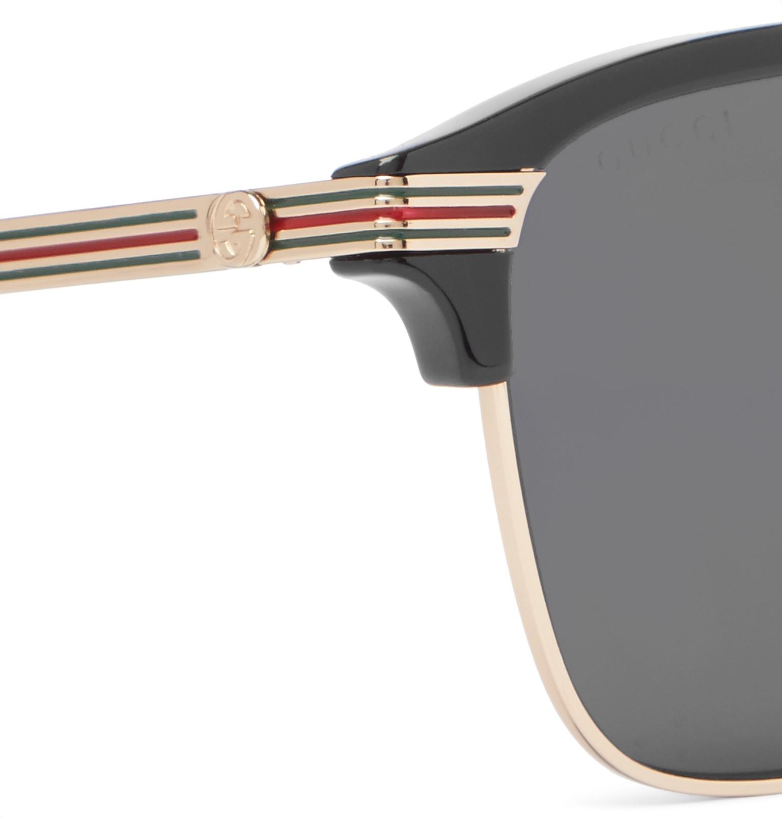 b92ce7e886354 Gucci - Endura Square-Frame Acetate and Gold-Tone Sunglasses
