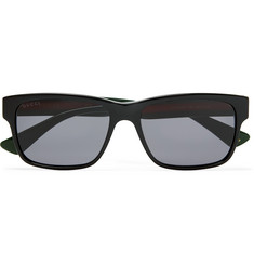Gucci Square-Frame Striped Acetate Sunglasses