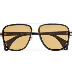 2a7ec40a0cc Gucci Aviator-Style Gold-Tone and Acetate Sunglasses
