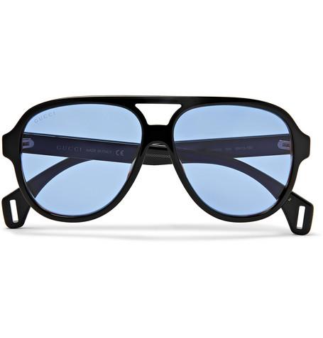 1bd125fff3e9 Gucci - Striped Aviator-Style Acetate Sunglasses