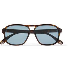 구찌 Gucci Aviator-Style Tortoiseshell Acetate Sunglases,Brown