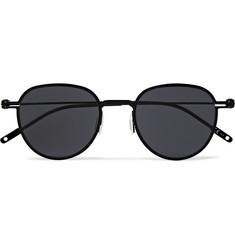 몽블랑 Montblanc Round-Frame Metal Sunglasses,Black