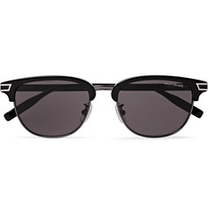 몽블랑 Montblanc Navigator D-Frame Acetate And Silver-Tone Sunglasses,Black