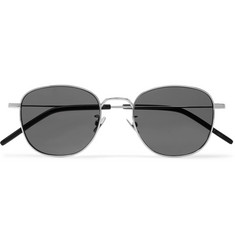 SAINT LAURENT - Round-Frame Silver-Tone Sunglasses