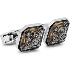 TATEOSSIAN Diabolo Ottagono Gear Rhodium-Plated and Enamel Cufflinks