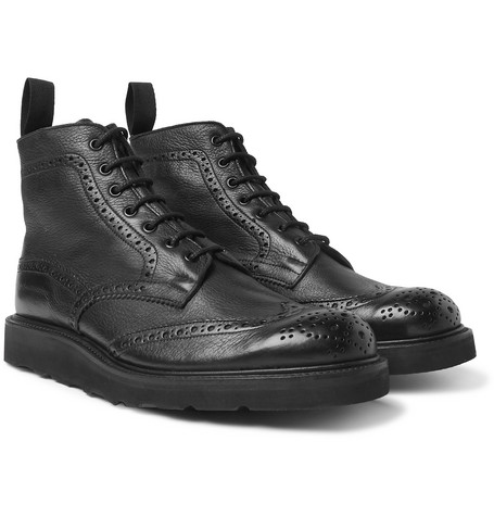 Stow Full-grain Leather Brogue Boots - Black