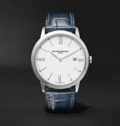 Baume & Mercier - Classima Quartz 40mm Steel and Croc-Effect Leather Watch