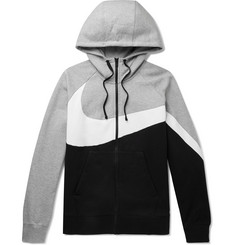 Nike Sportswear Colour-Block Fleece-Back Cotton-Blend Jersey Hoodie