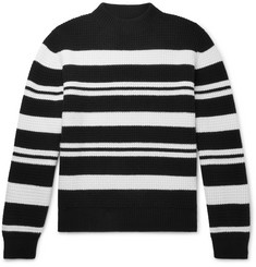 Mr P. - Striped Waffle-Knit Virgin Wool Sweater