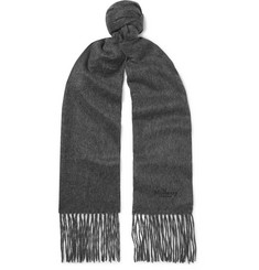 Mulberry Logo-Embroidered Fringed Mélange Cashmere Scarf